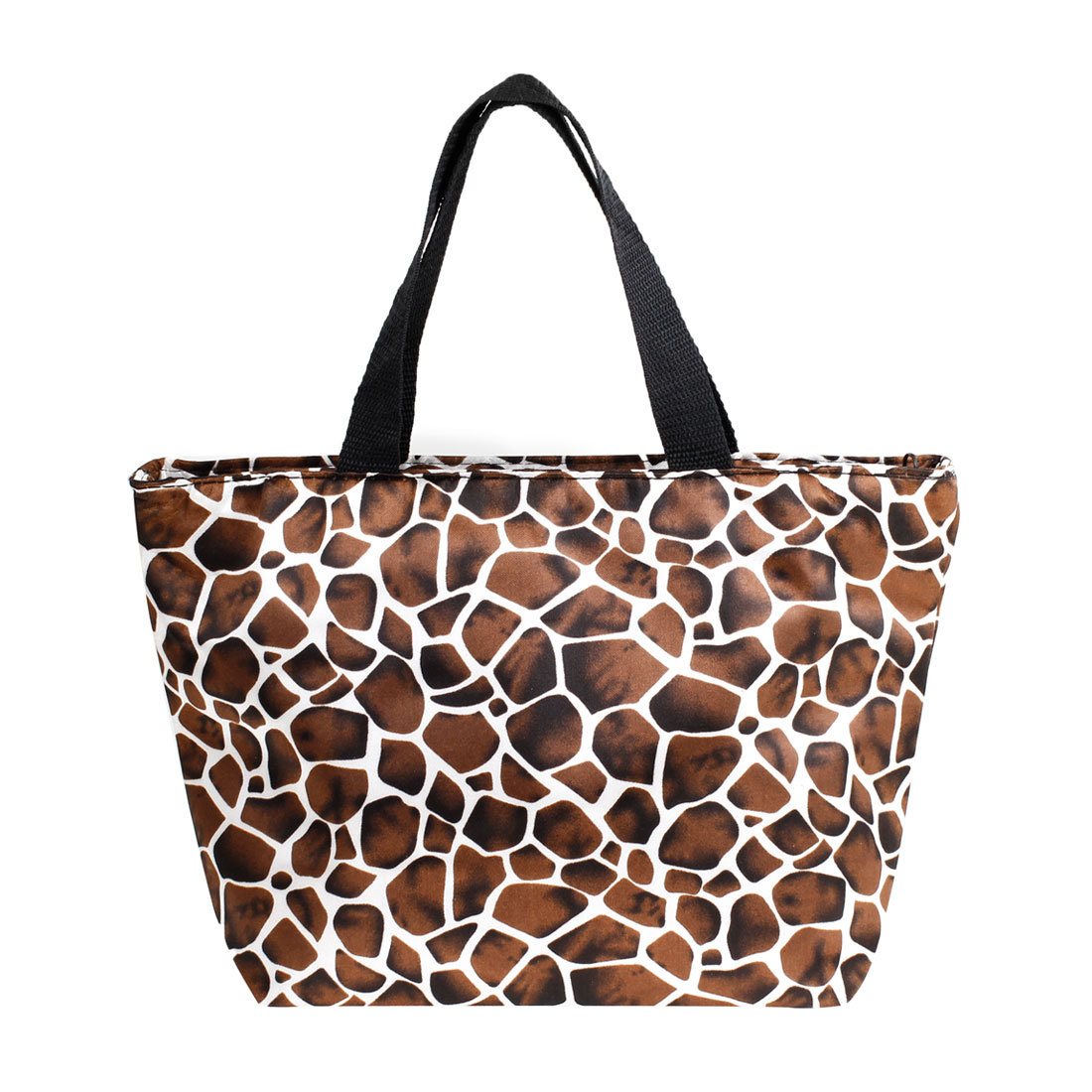 Ladies Polyester Giraffe Pattern Zip Up Shopper Handbag Bag White Brown