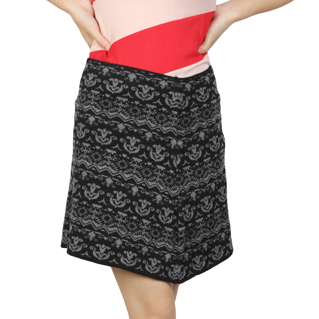 Ladies Textured Gray Jacquard Pattern Black Elastic Knitting Mini Skirt XS