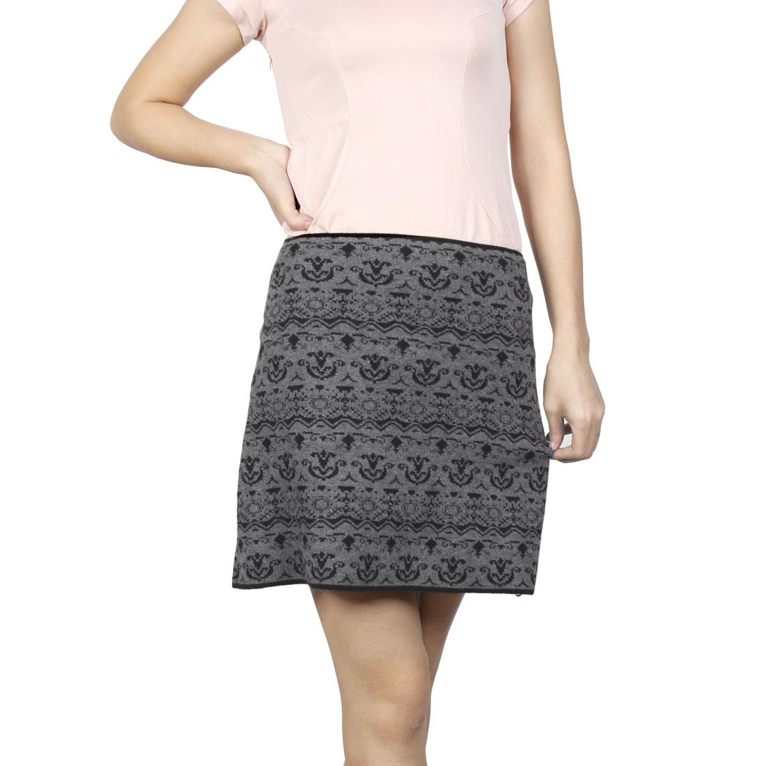 Ladies Autumn Black Jacquard Pattern Gray Elastic Knitting Mini Skirt XS