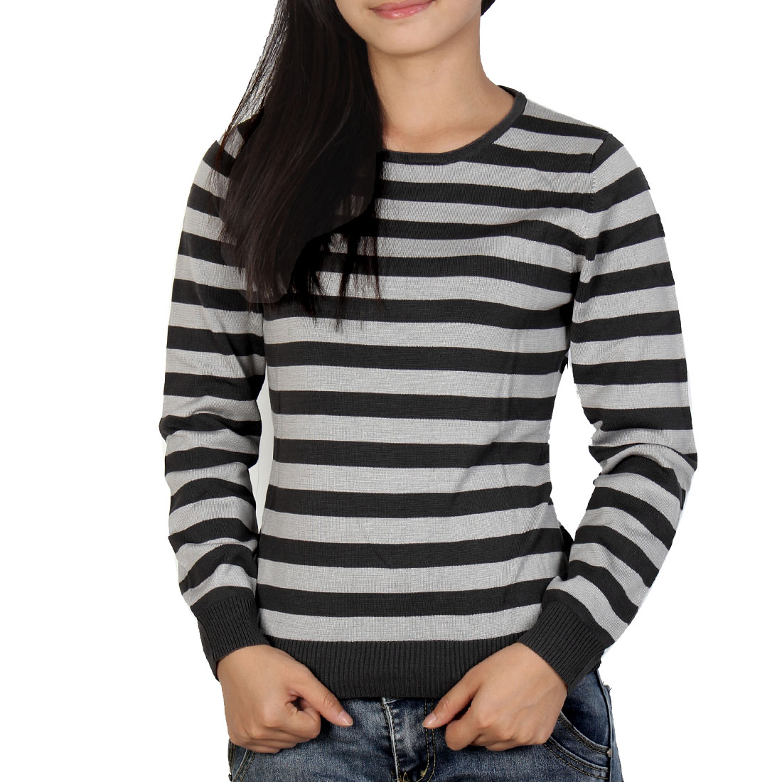 Woman Pullover Stripes Crew Neck Casual Soft Sweater Two Tone Gray XS