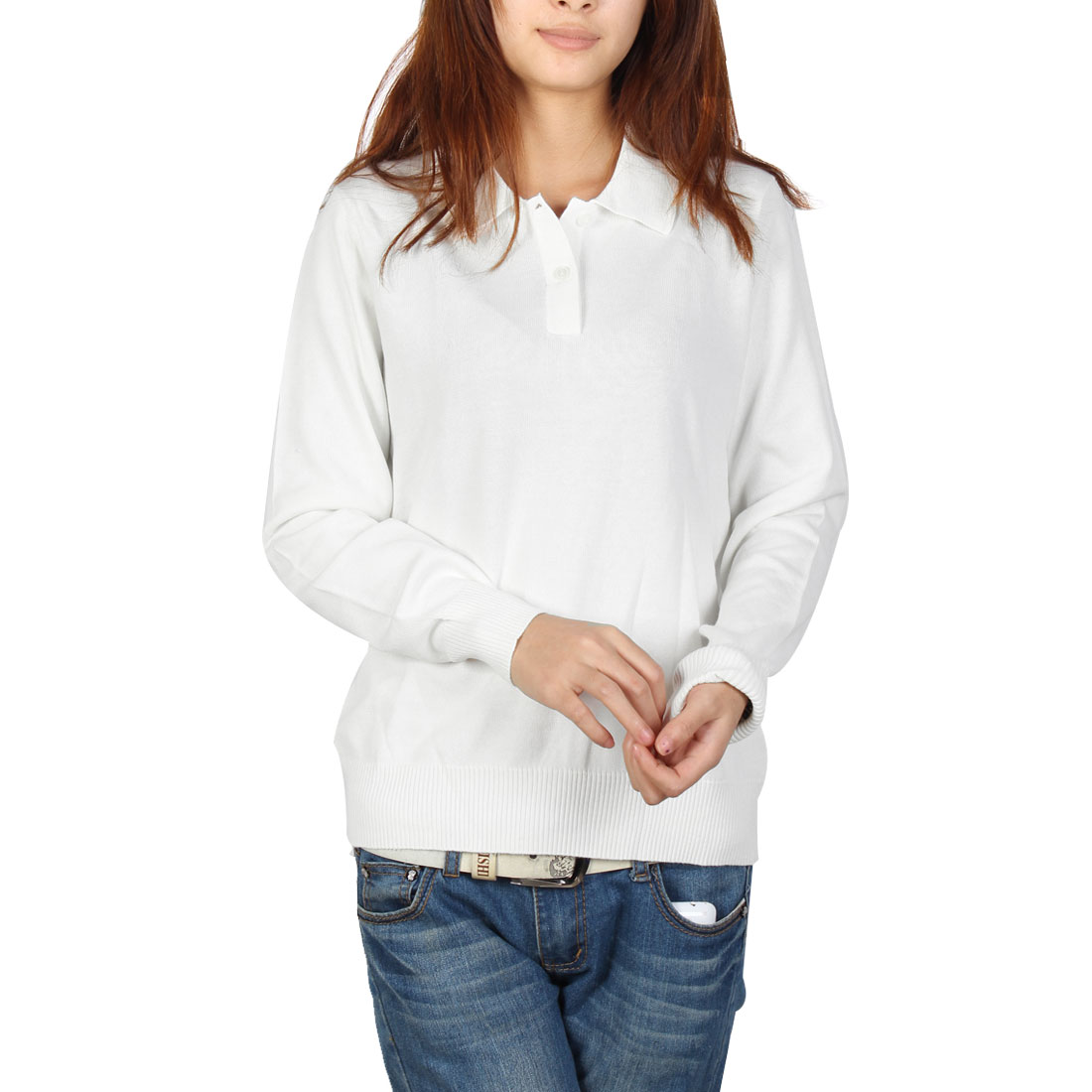 Woman Casual Pullover Point Neck Long Sleeve Henley Sweater White M