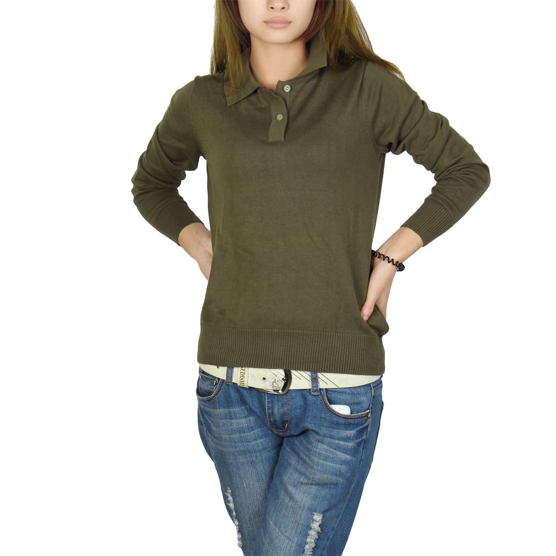 Woman Casual Pullover Point Neck Long Sleeve Henley Sweater Army Green S