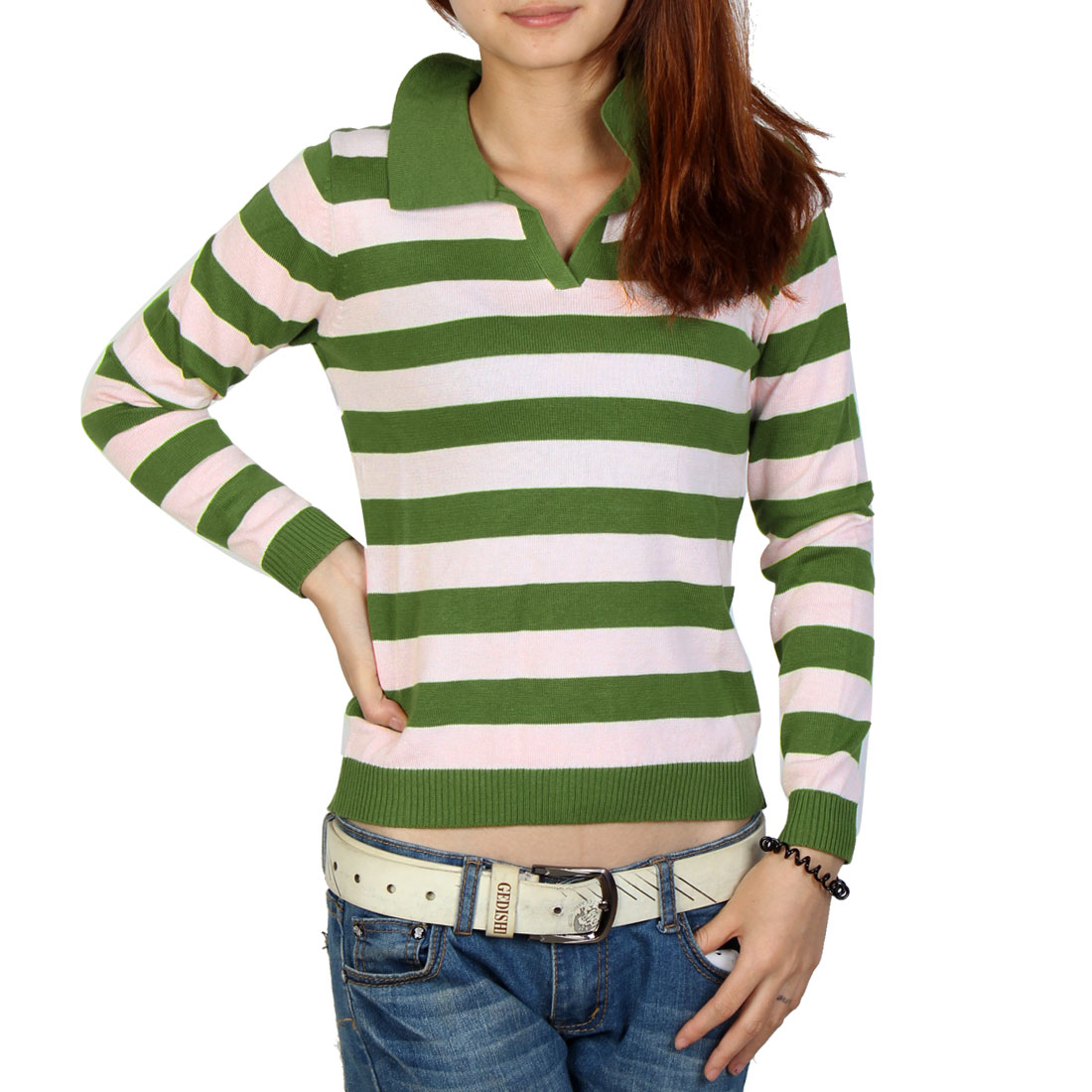 Woman Pullover Stripes Point Neck Casual Soft Sweater Green White XS