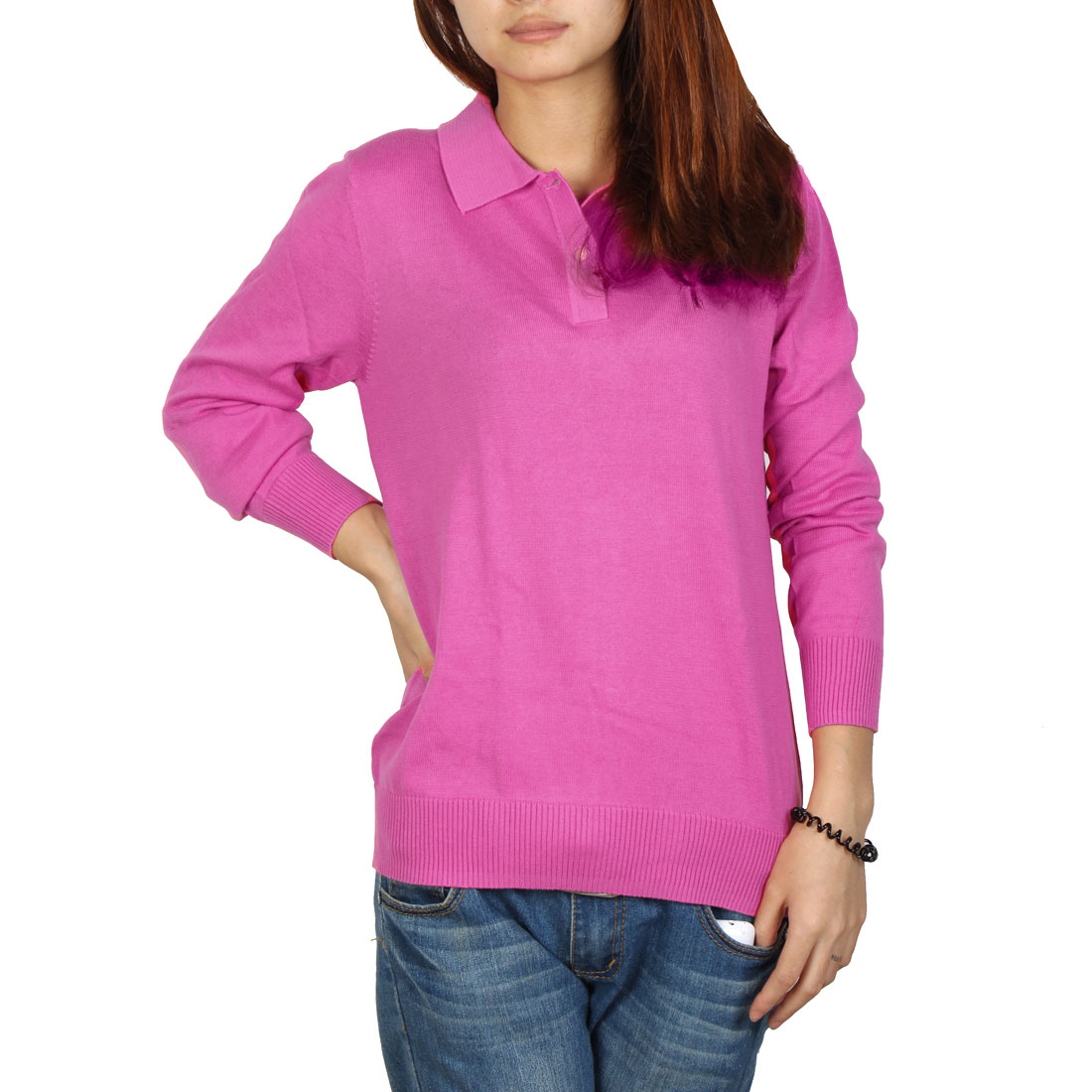 Woman Casual Pullover Point Neck Long Sleeve Henley Sweater Fuchsia M