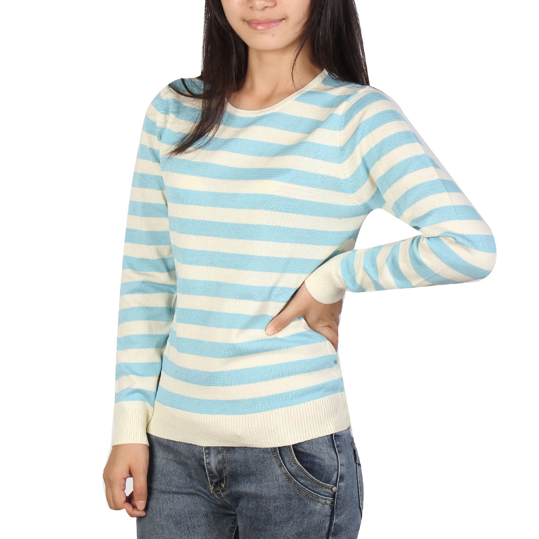 Woman Pullover Stripes Crew Neck Casual Soft Sweater Blue White XS