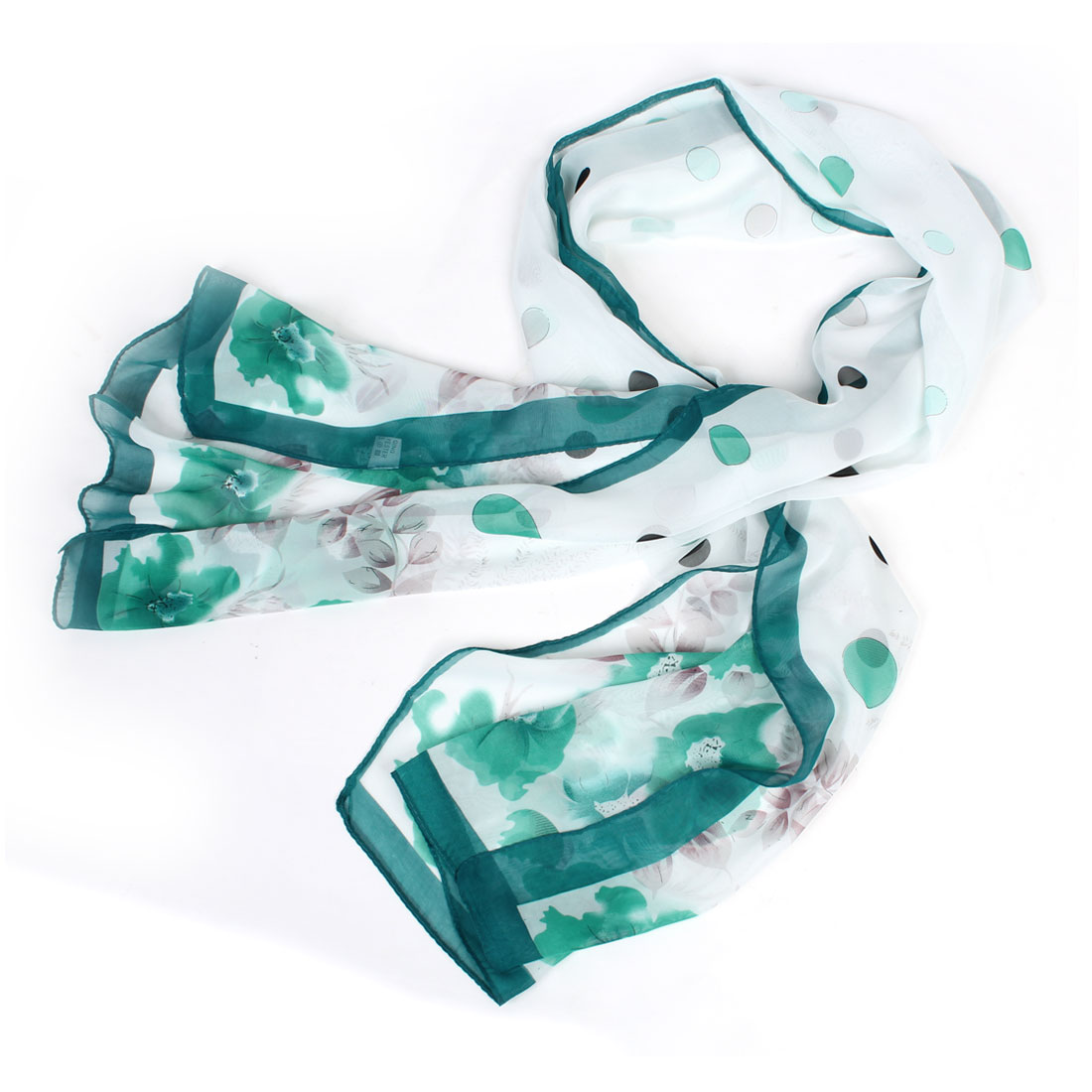 Lady Women Soft Chiffon Flower Printed Teal White Rectangle Scarf Shawl