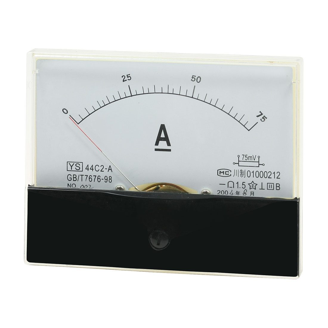 YS44C2-A DC 0-75A Fine Tuning Dial Current Tester Panel Meter Ammeter