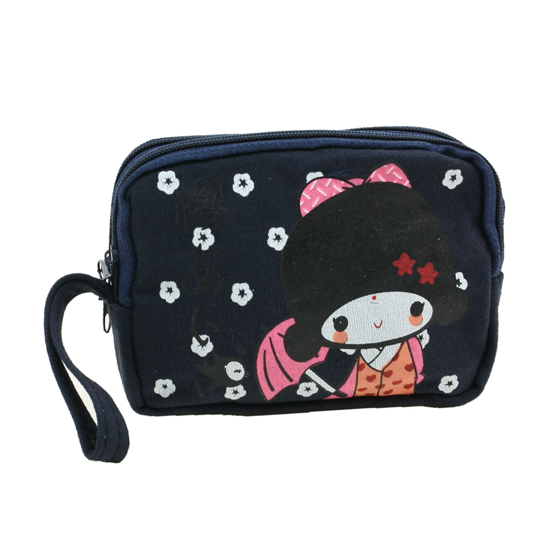 Single Compartment Dark Blue Canvas Girl Printed Zipped Coin Keys Purse