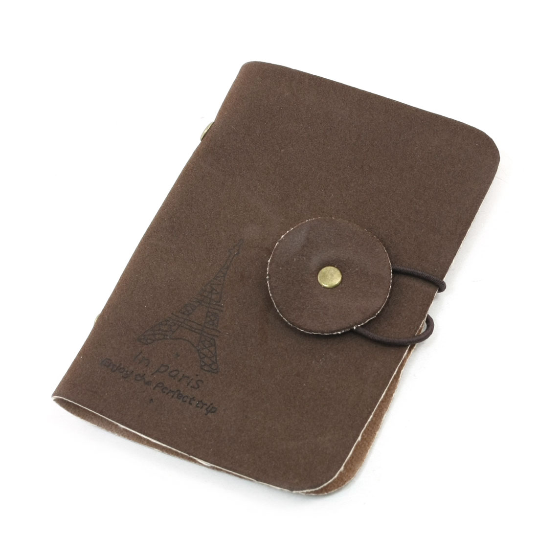 Tower Pattern 20 Capacity Business ID Card Case Pouch Dark Brown