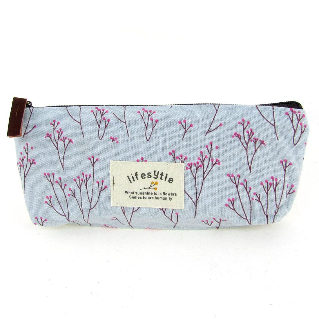 Woman Light Blue Pink Floral Print Zipper Clouser Makeup Bag Holder