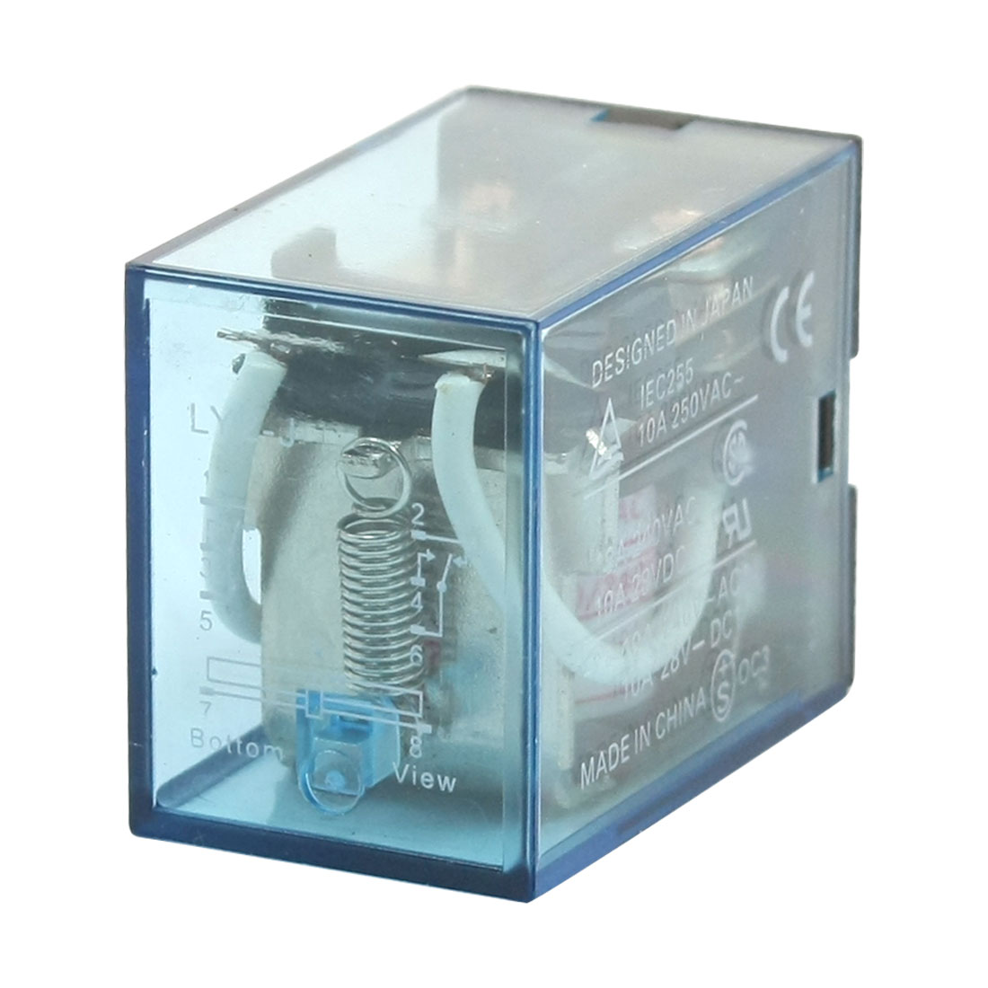 Clear Blue Shell 220-240V AC Coil Voltage 8 Pin 2 Pole Power Relay LY2-J