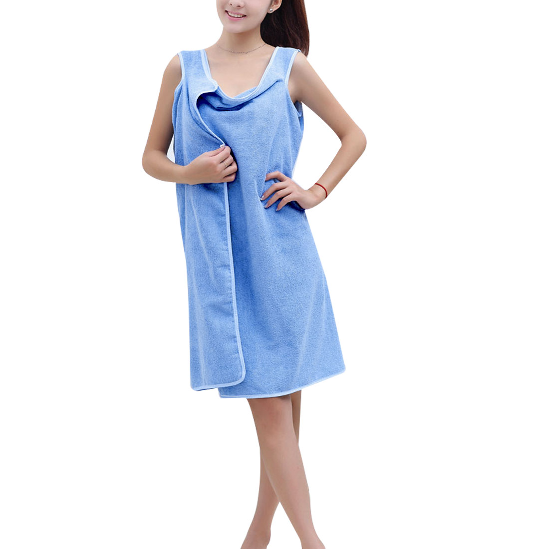 Swimwear Shower Body Spa Bath Wrap Robe Towel Bathrobe Blue for Woman