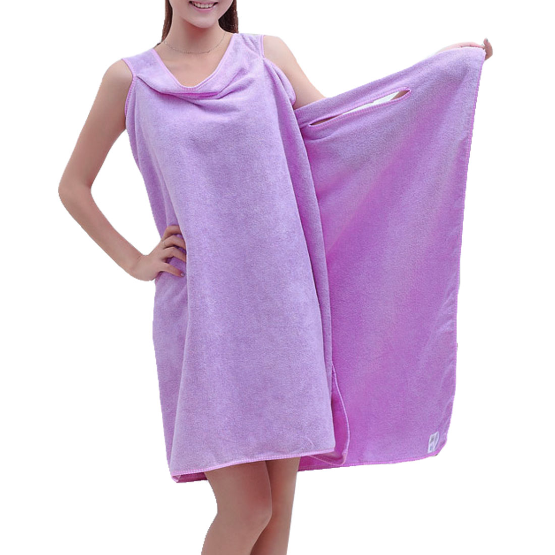 Lady Sleeveless Absorbent Towel Bathrobe Bath Wrap Dressing Gown Purple
