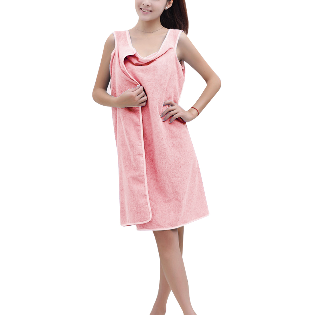 Lady Absorbent Towel Bathrobe Bath Spa Body Wrap Dressing Gown Pink