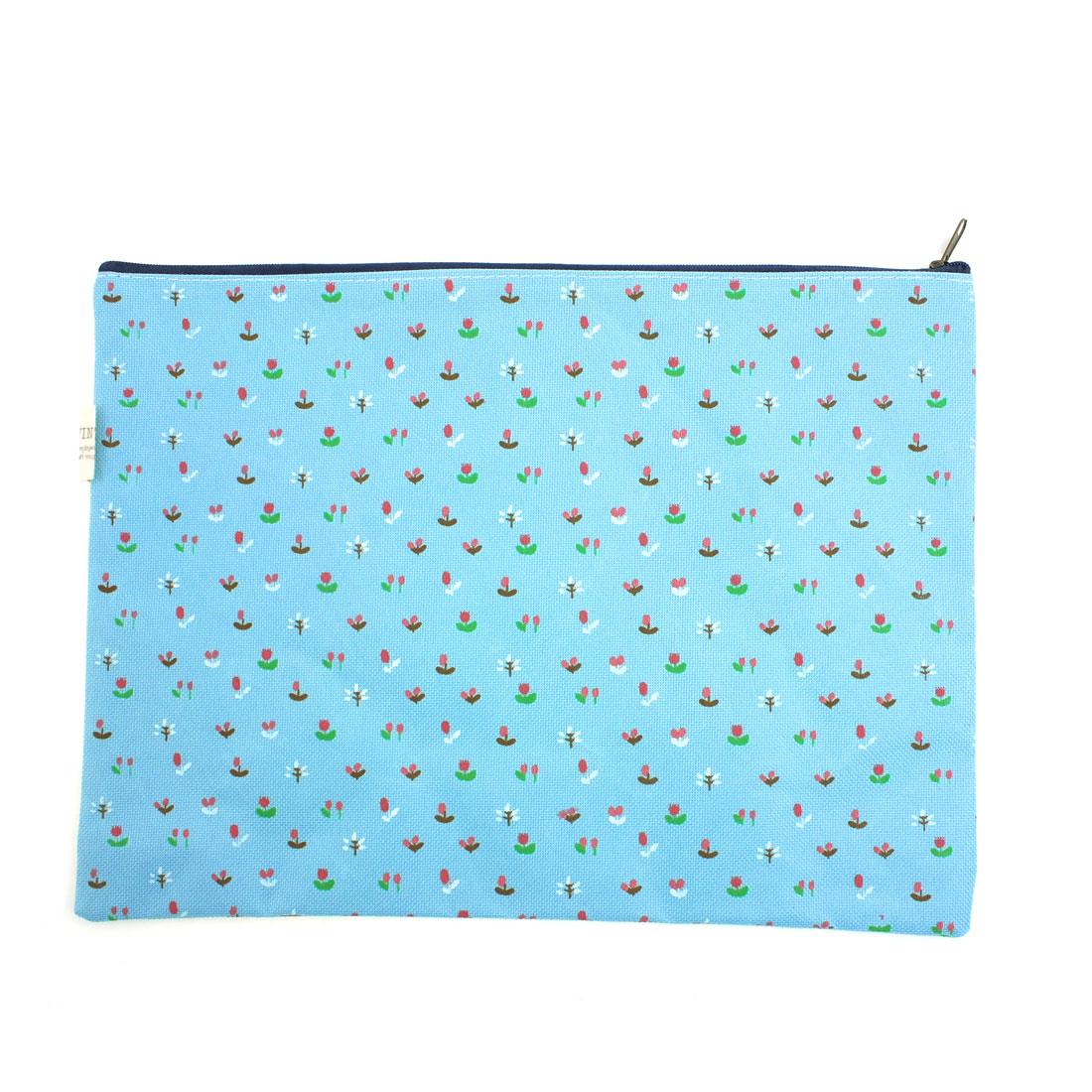 Flower Printed Zippered Paper Pens Organizer A4 File Bag Holder Blue