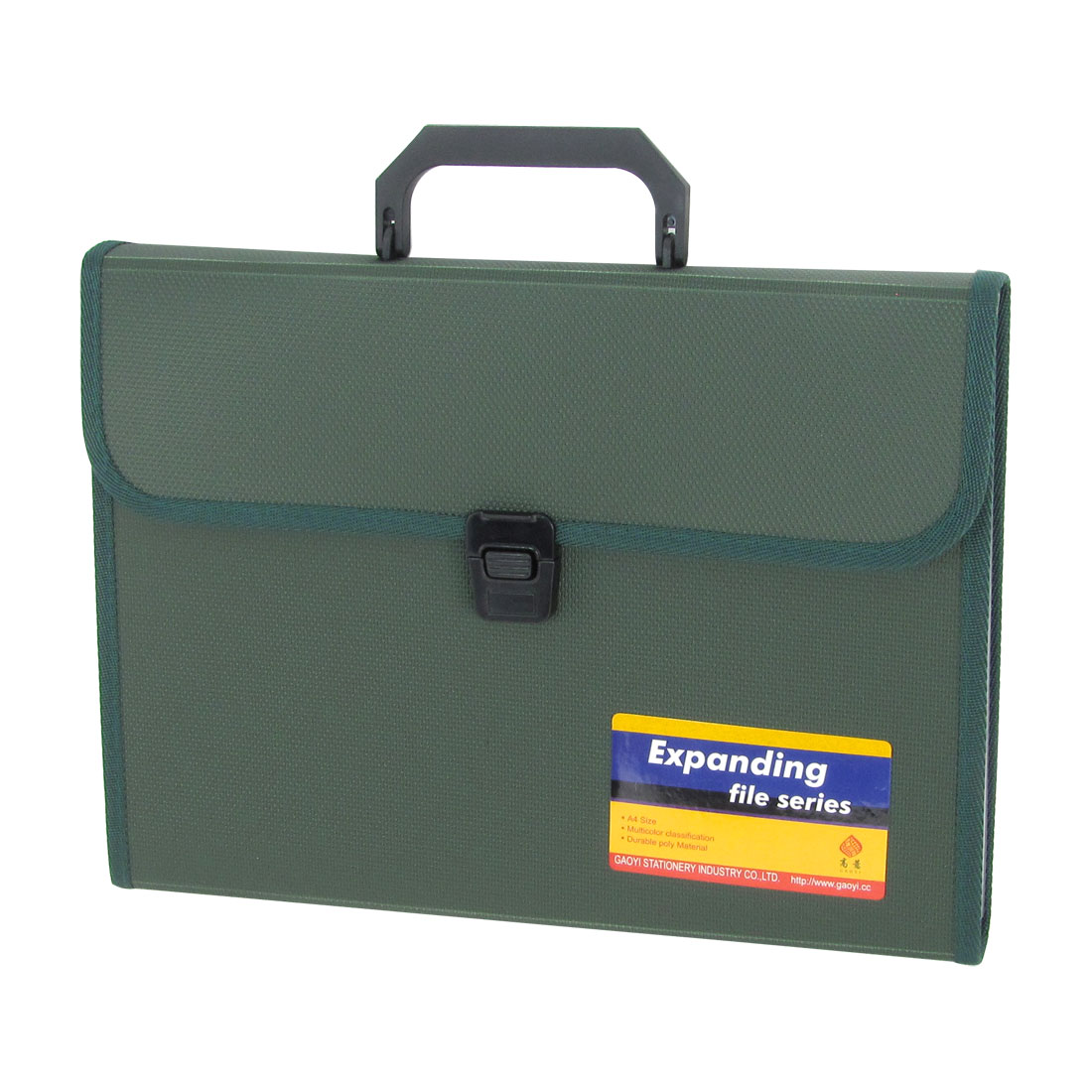 Army Green 13-Compartments Expanding File Document Paper Briefcase Bag