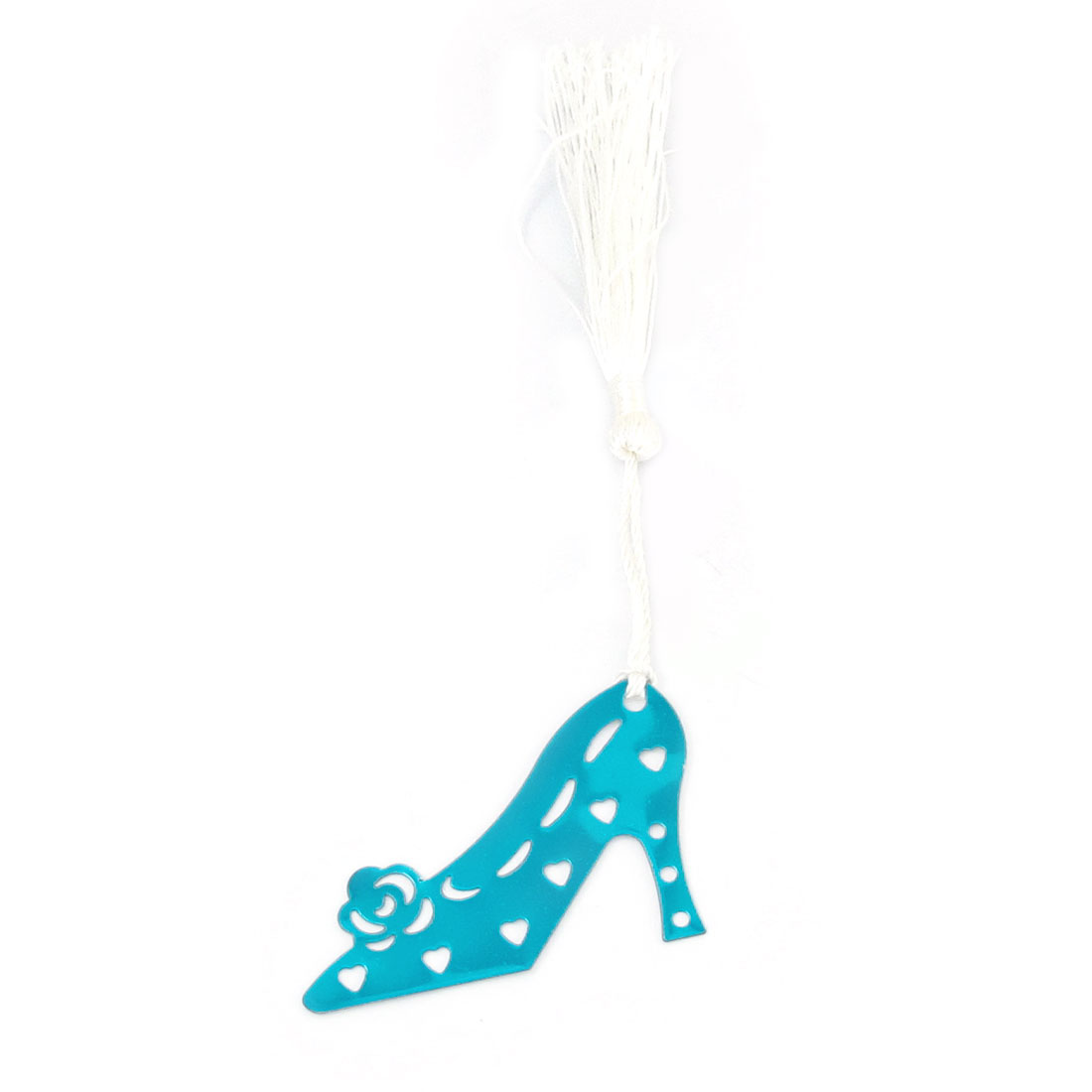 Teal High-heeled Shoes Design White Tassels Decorated Bookmark