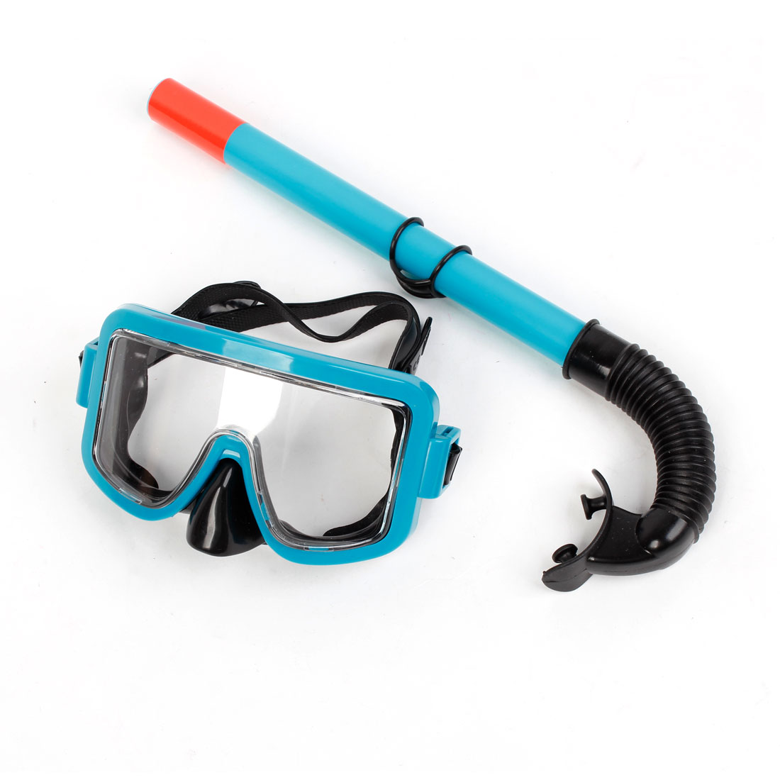 Adults Plastic Frame Adjustable Headstrap Diving Goggles Snorkel Set