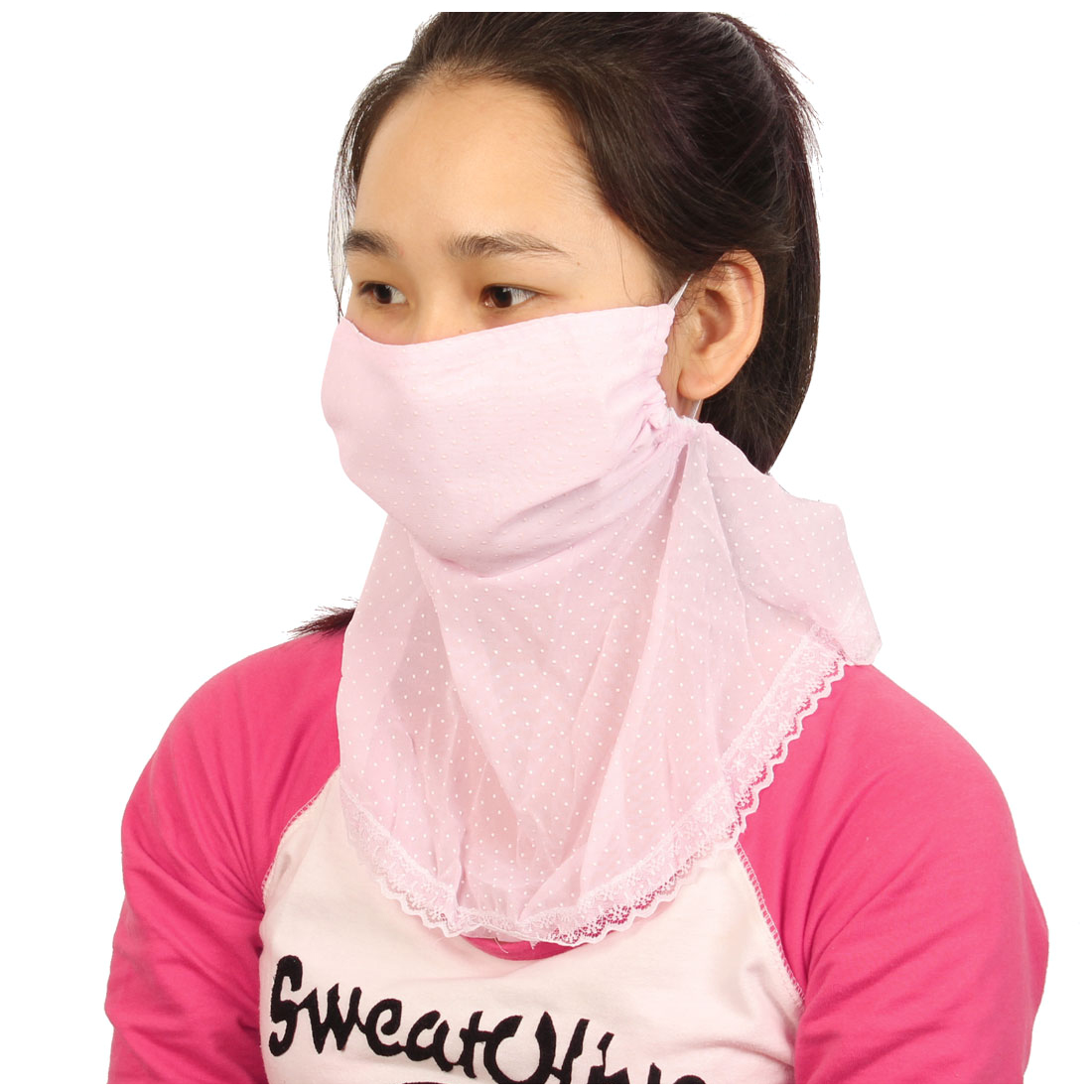 Summer Sun Protect Anti UV Dust Lace Decor Neck Protection Mask Light Pink For Women