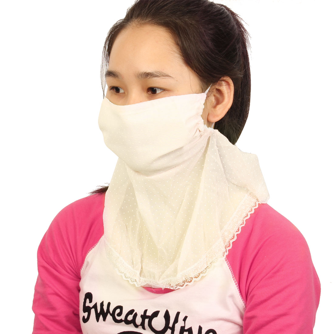 Off White Sun Protect Anti UV Dust Lace Decor Neck Protection Mask For Women
