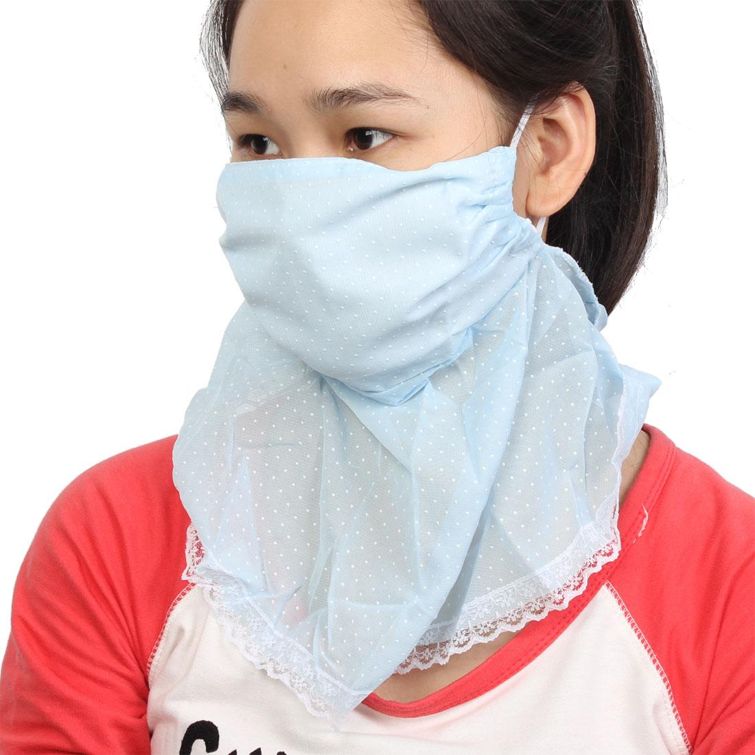 Ladies Pale Blue Lace Brim Detail Neck Protection Windproof Sun Protect Face Mask