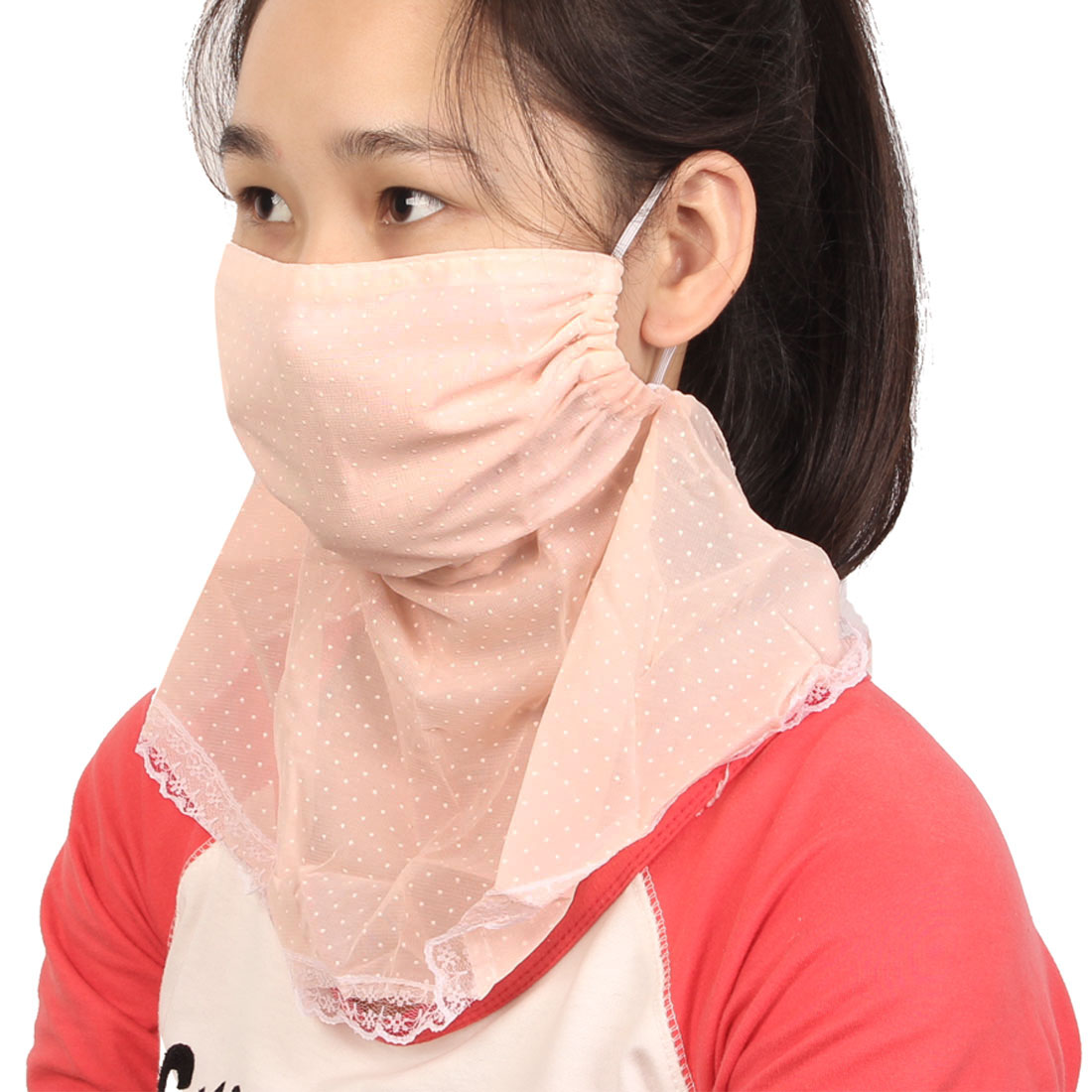 Ladies Pale Pink Lace Brim Detail Neck Protection Windproof Sun Protect Face Mask