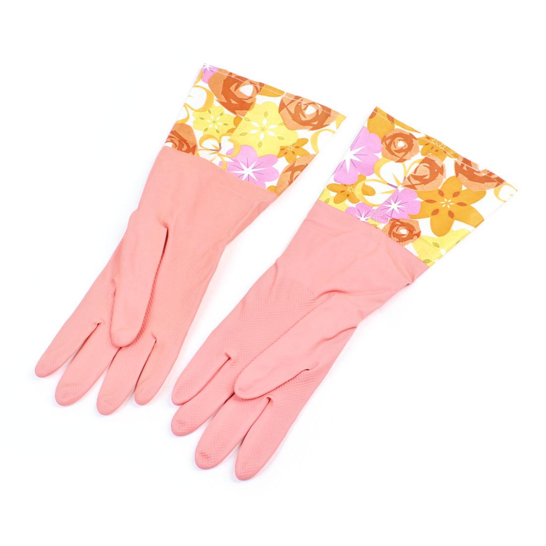 Female Light Pink Dishwashing Latex Long Warm Washing Cleaning Gloves Pair