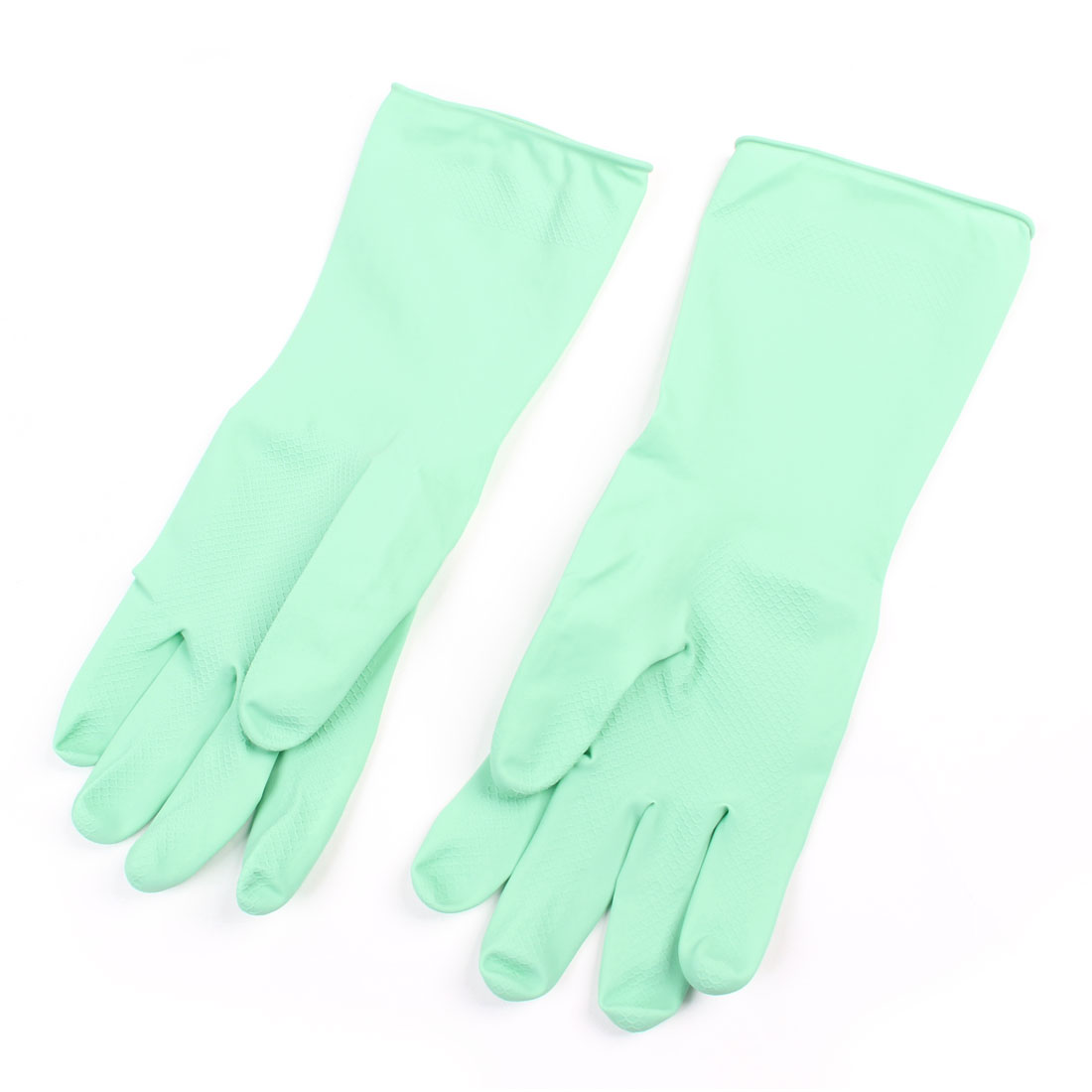 Pair Housework Latex Long Cuff Cleaning Washing Gloves Light Green