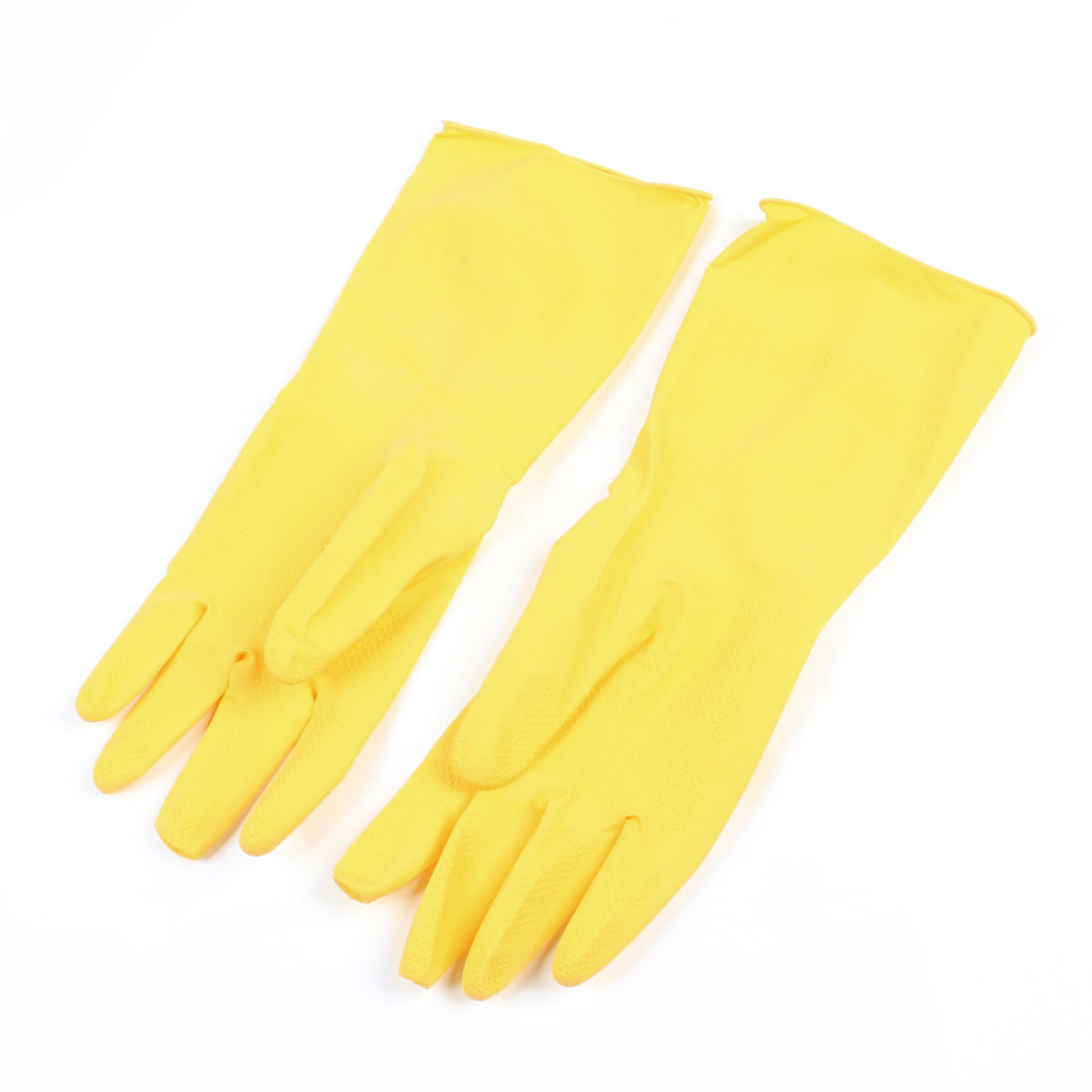 Pair Housework Latex Long Cuff Cleaning Washing Gloves Yellow