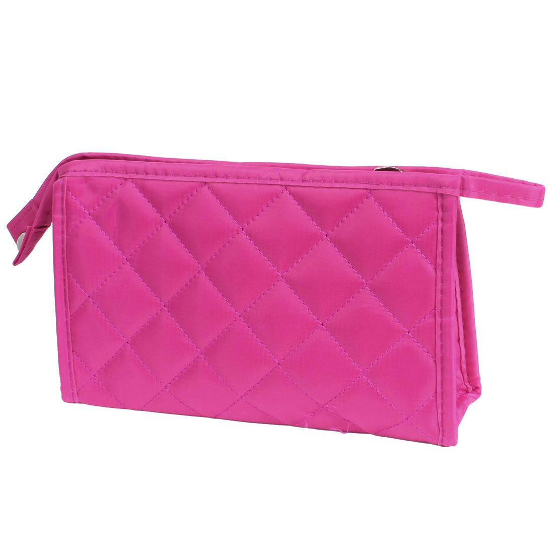 """8.9"""" Long Zip Up Closure Fuchsia Grid Pattern Cosmetic Bag for Ladies"""