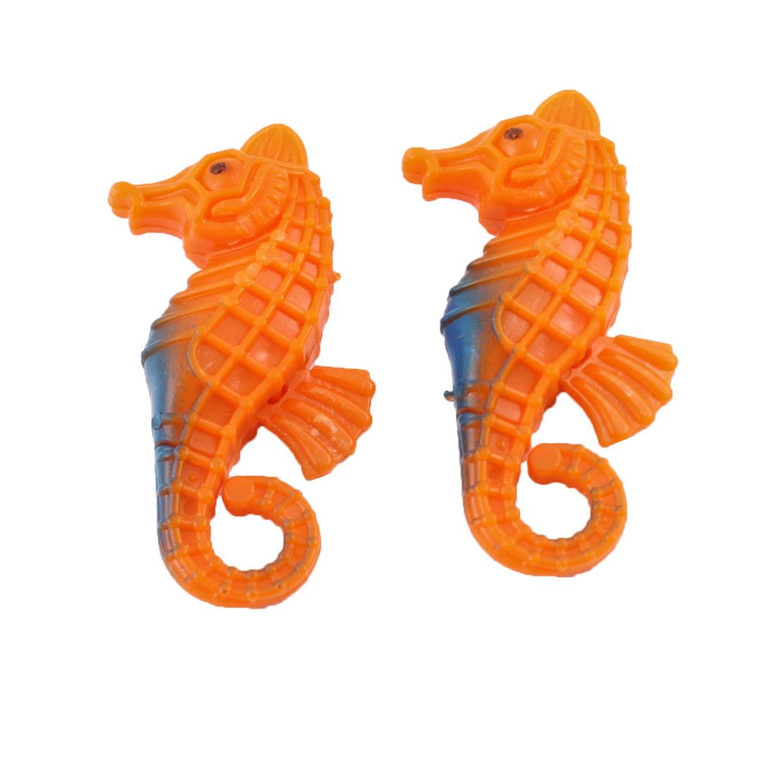 Aquarium Fish Tank Emulation Plastic Animal Seahorse Orange Decor 2 Pcs