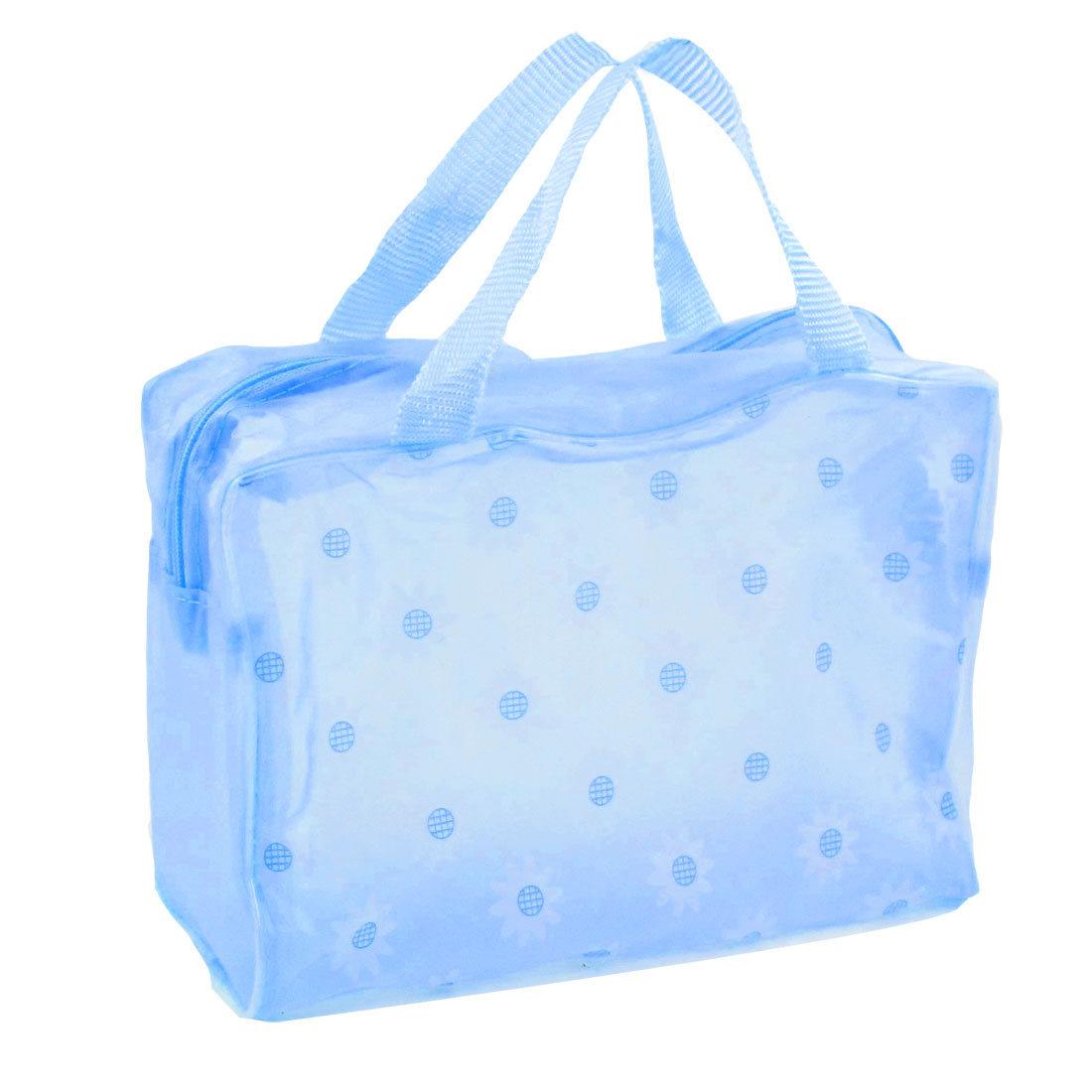 Travelling Zippered Flodable Floral Print Polyethylene Shower Bag Light Blue