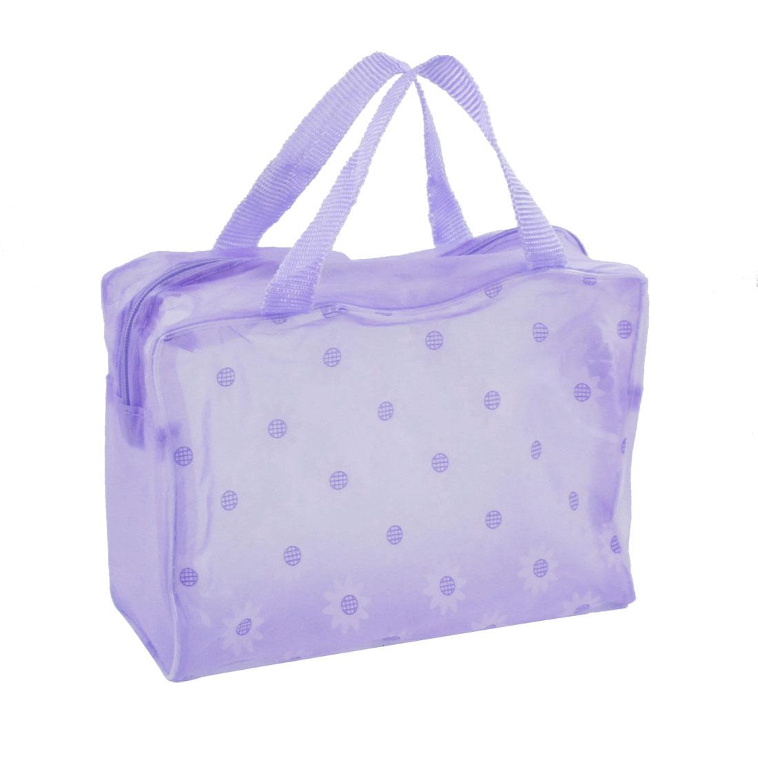 Portable Light Purple Sunflower Pattern Translucent Shower Bag for Bathroom