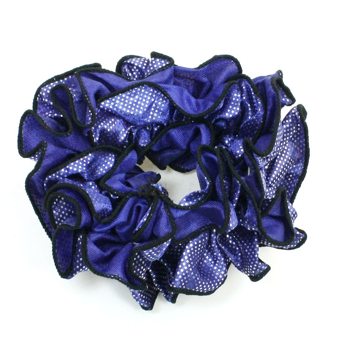 Lady Silver Tone Dots Print Dark Blue Elastic Ponytail Holder Hairband