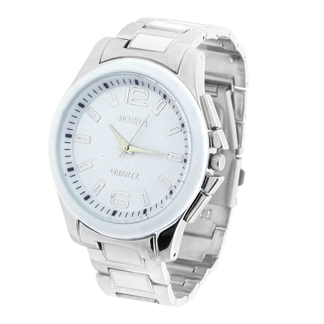 Man Dial Number Display Watchband Wrist Watch White Silver Tone