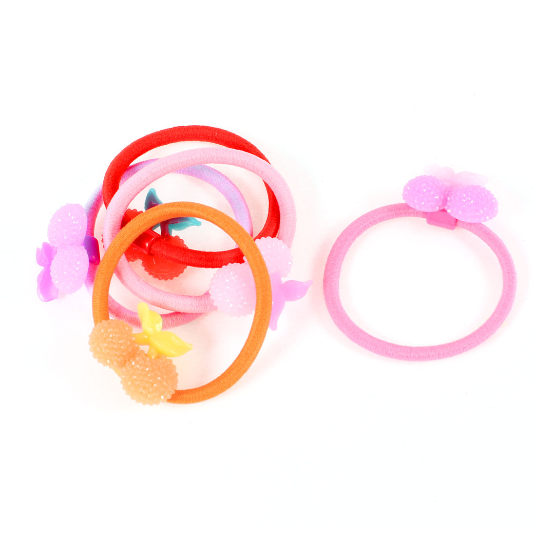 5 Pcs Kids Assorted Colors Elastic Rubber Band Hair Tie Ponytail Holder