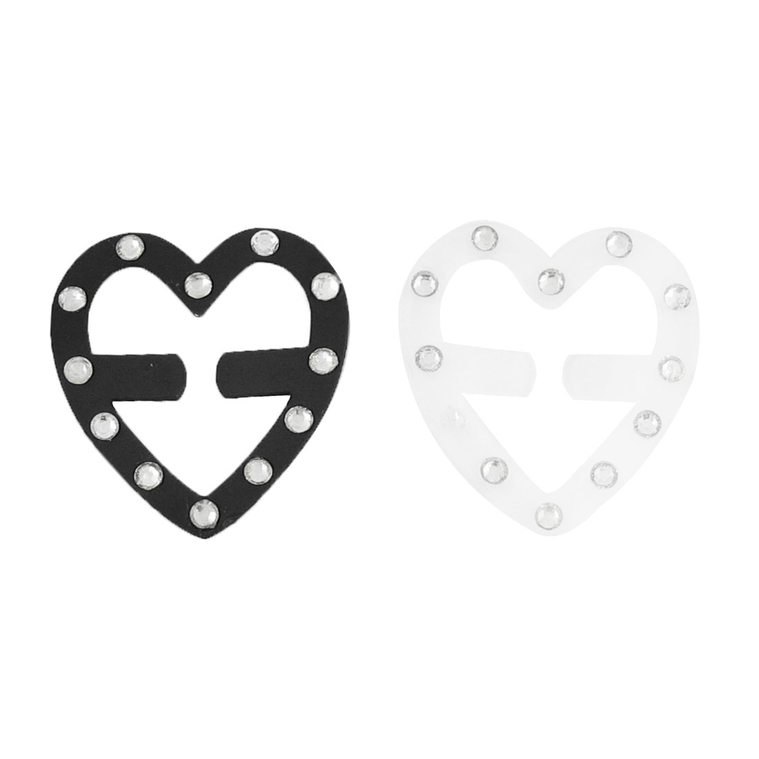 Faux Rhinestone Decor Heart Shape Black Clear Plastic Bra Strap Clip 2 Pcs
