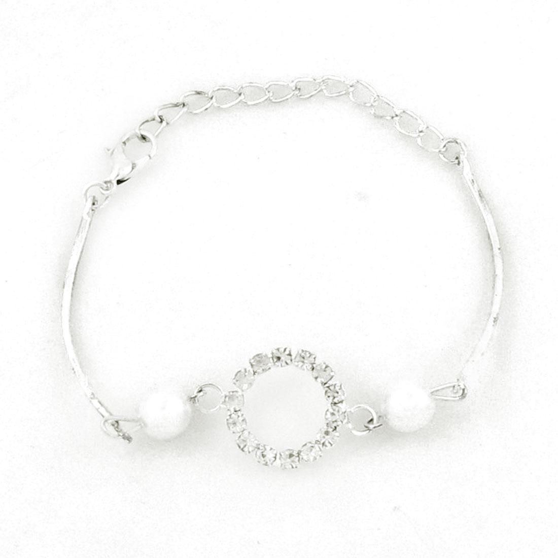 Women Faux Imitation Pearl Decoration Silver Tone Chain Bracelet