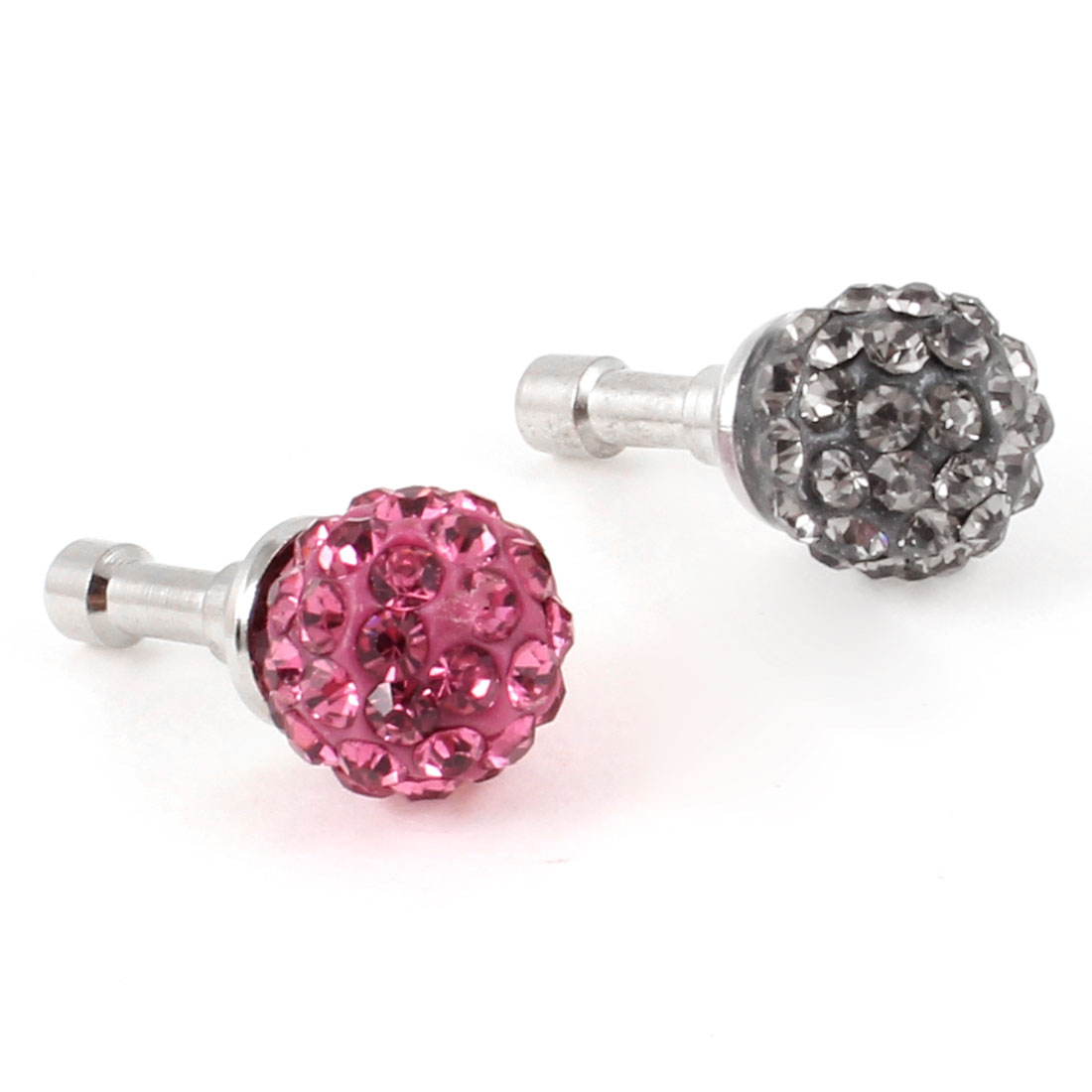 2Pcs Black Pink Rhinestone 3.5mm Anti Dust Earphone Jack Ear Plug for MP3 MP4