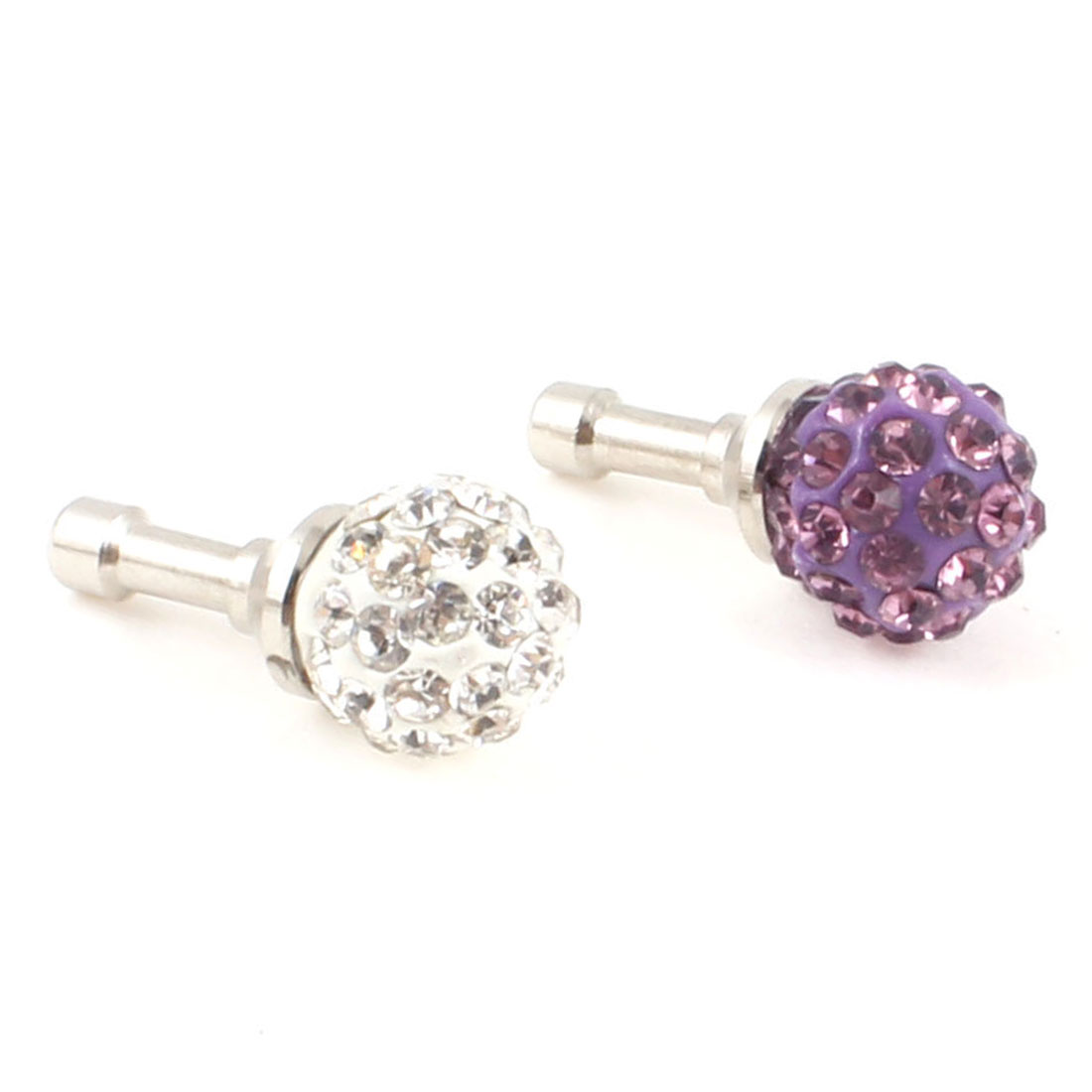 2Pcs Purple Clear Bling Rhinestone Earphone Cap Anti Dust Connector 3.5mm for Smartphone