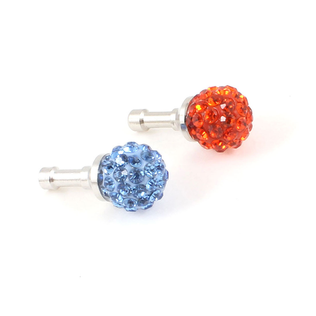 2x Blue Orange Dome Shape 3.5mm Earphone Anti Dust Ear Cover for MP3 MP4