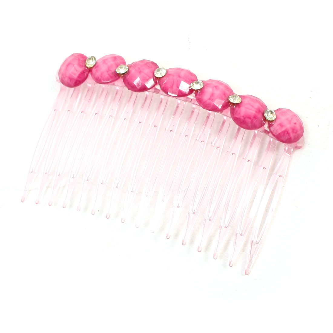 Woman Clear Glitter Plastic Crystals Fuchsia Beads Comb Hair Clip