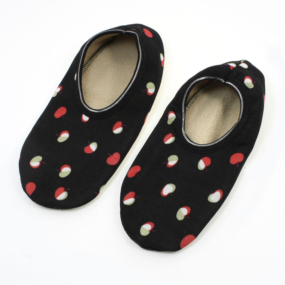 Women Red Apple Print Warm Anti-skidding Floor Boat Socks Pair Size M