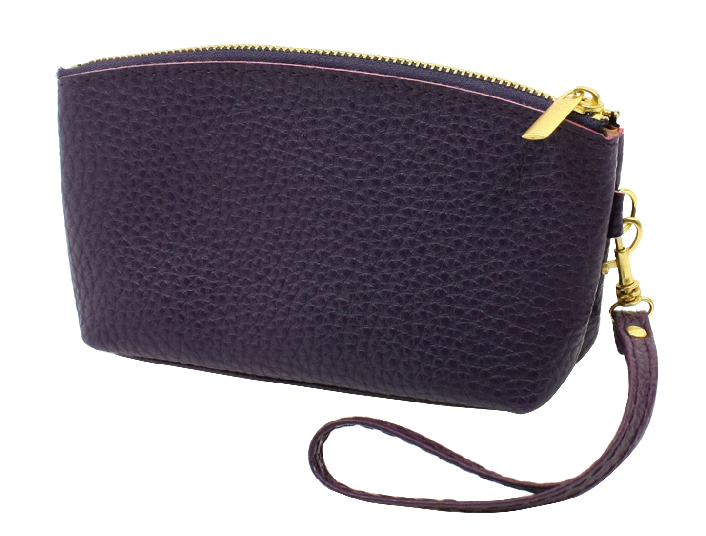 Lady Portable Zippered Purple Faux Leather Change Coin Purse Wallet