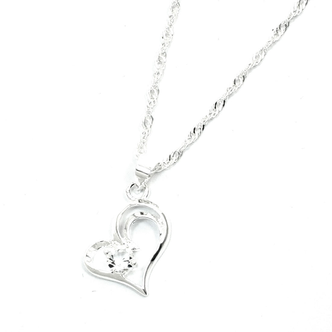 Women Rhinestone Inlaid Heart Shape Dangle Alloy Link Necklace Chain