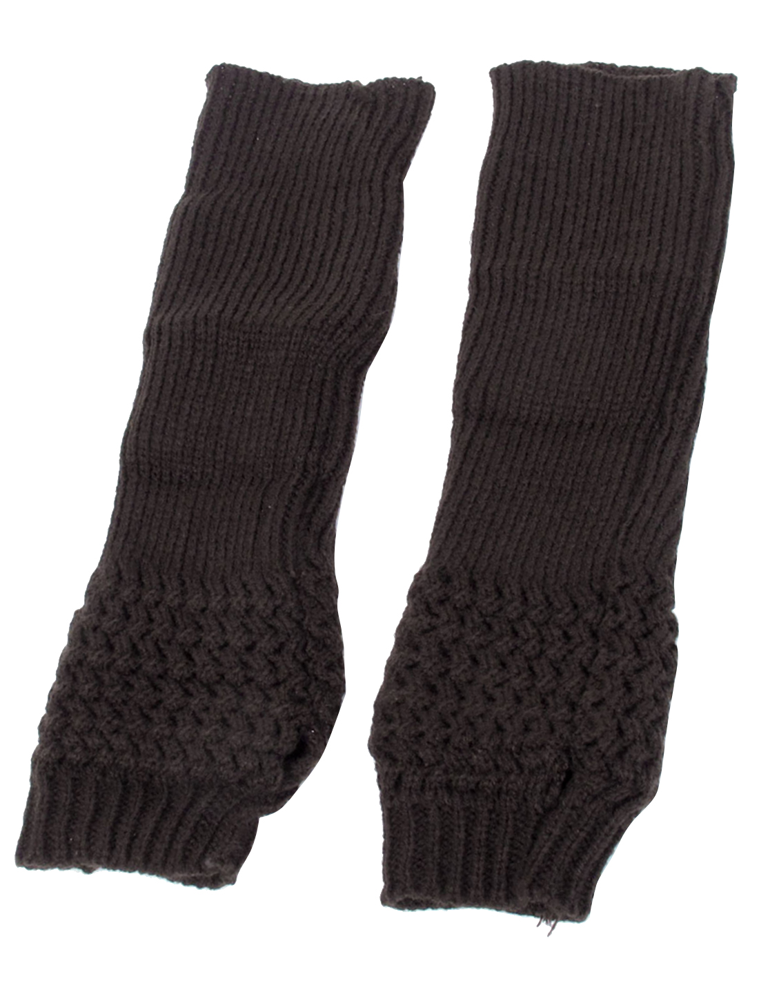 Woman Knitting Fingerless Long Gloves Arm Warmers Protective Brown Pair