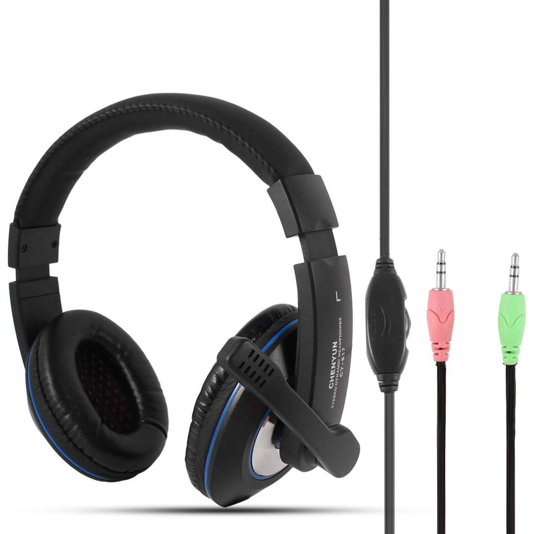 Adjustable Headband 3.5mm Connector Stereo Multimedia Headphone w Mic for PC Laptop