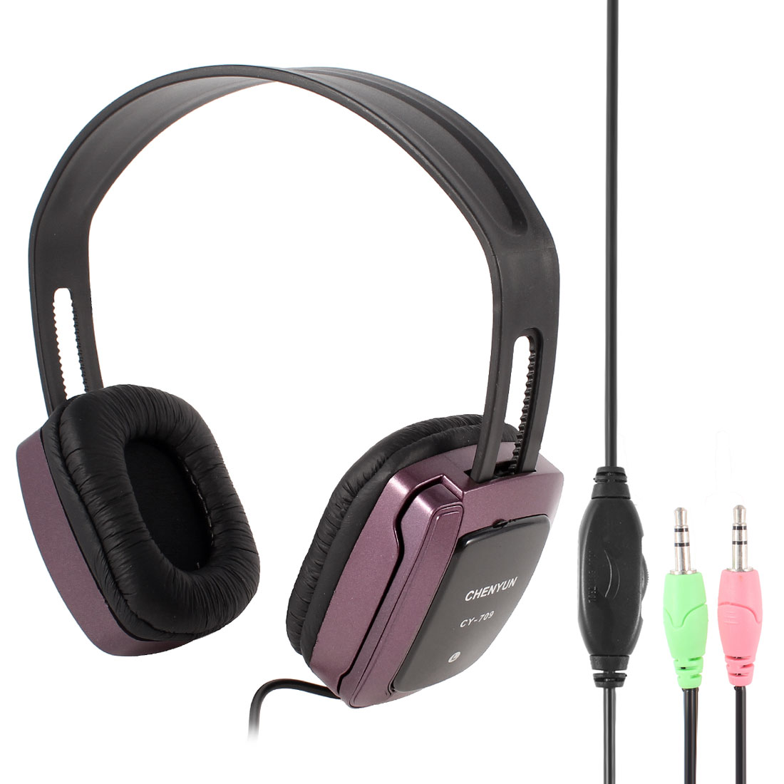 Black Burgundy 3.5mm Connector Stereo Headphone Headset w Microphone for PC Computer