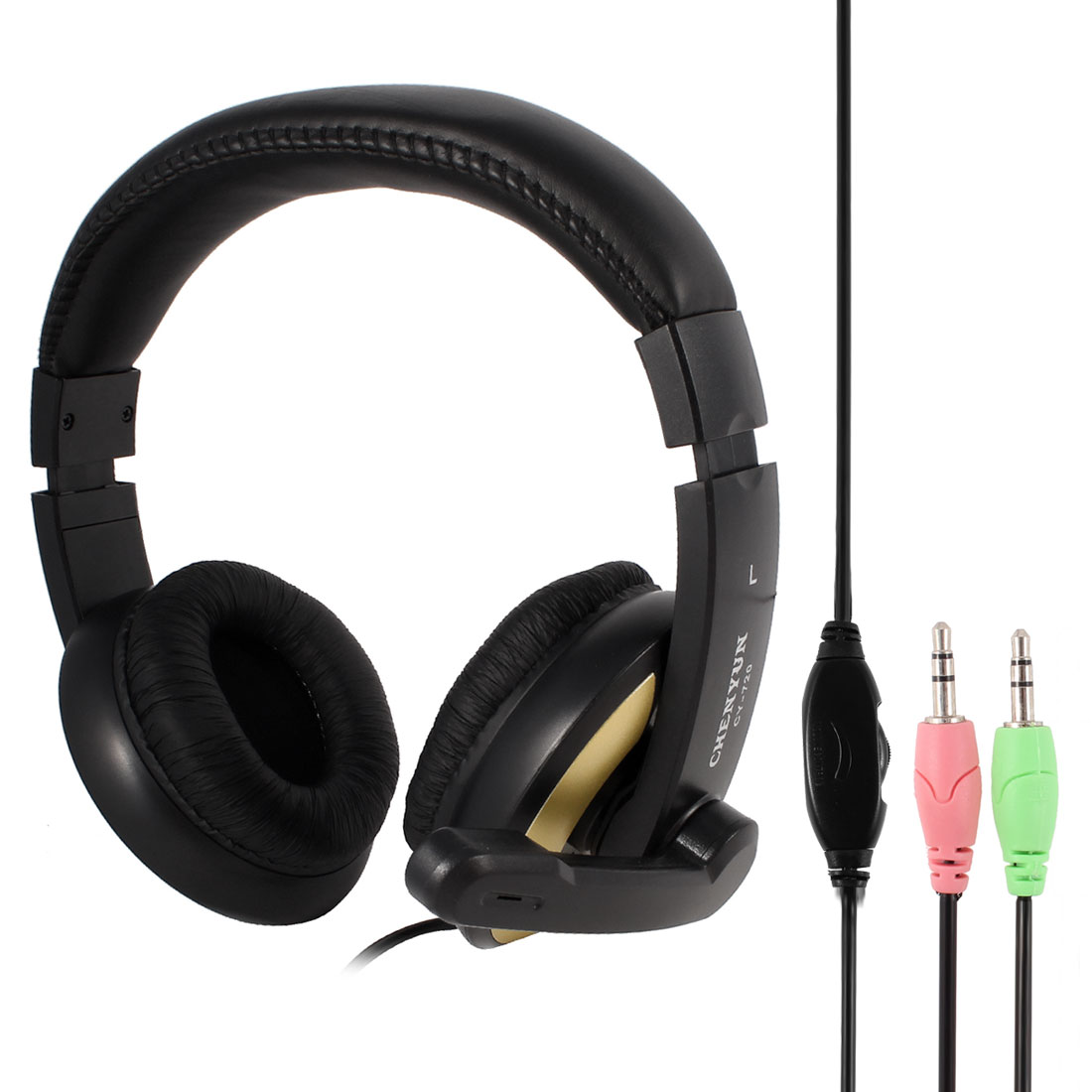 Adjustable Headband 3.5mm Connector Stereo Headphone Headset w Microphone for Laptop