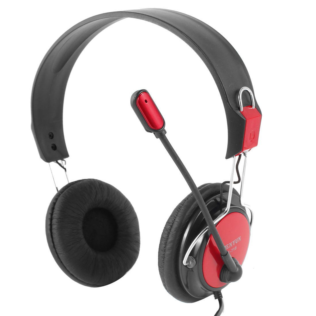 Dual 3.5mm Jack Stereo Black Red Ear Pad Headphone Earphone w Mic for Laptop PC